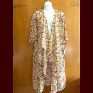 LulaRoe Shirley Wrap Robe Kimono Pink paisley M